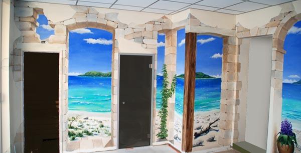 Muurschildering artistpainter wim de prez geschilderde opening in de muur - Deco trompe l oeil muurschildering ...