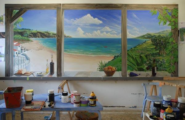 Muurschildering in traiteurzaak met olijfboom en zeezicht for Schilderij zeezicht