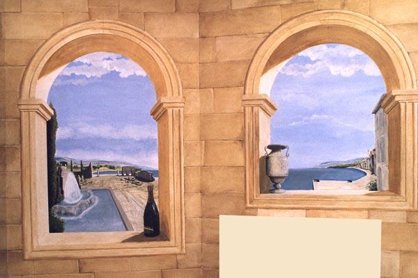 Trompe l 39 oeil muurschildering van romeinse ruines - Deco trompe l oeil muurschildering ...