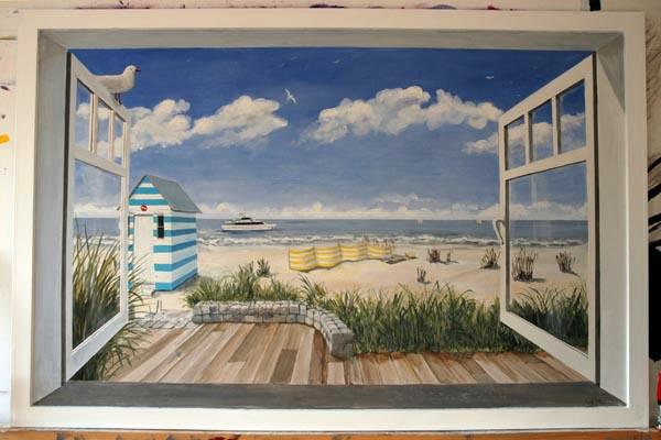 Muurschildering wim de prez trompe l 39 oeil van een raam aan belgische kust - Nieuw muurschildering ...