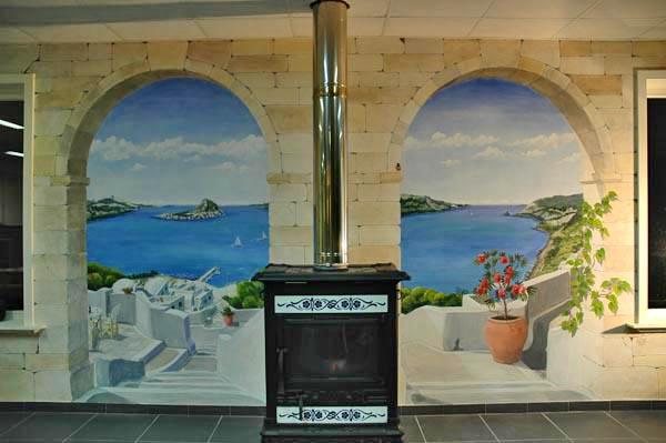 Muurschildering wim de prez vakantie herinnering in een trompe l 39 oeil muurschildering - Deco trompe l oeil muurschildering ...