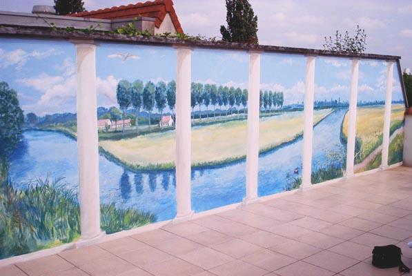 Muurschildering terras met zicht op gent en leie - Deco terras zwembad ...