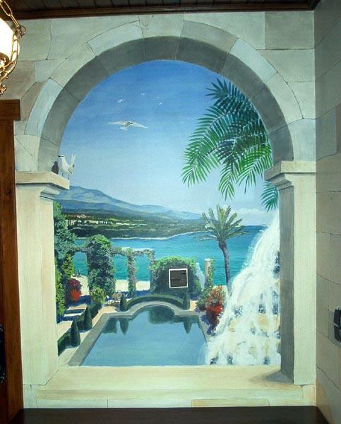 Muurschildering van een mediterraan landschap - Nieuw muurschildering ...