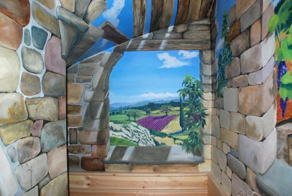 Trompe l 39 oeil peinture murale wim de prez cave vin - Deco trompe l oeil muurschildering ...