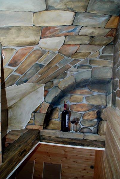 Muurschildering wim de prez - Deco wijnkelder ...