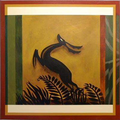 Muurschilderingen wim de prez art deco schilderij met afrikaanse motieven - Deco schilderij slaapkamer kind ...