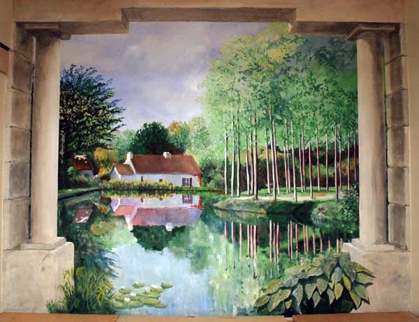 Muurschildering artistpainter wim de prez constantinopel aan draaitrap naar zwembad - Nieuw muurschildering ...